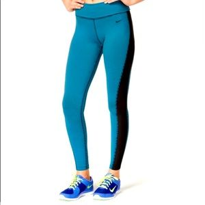 NIKE DriFit Striped High Waisted Foldable Leggings